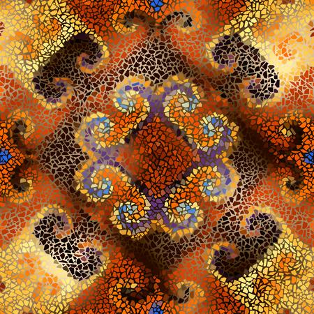 Seamless background pattern. Decorative symmetric mosaic art pattern.