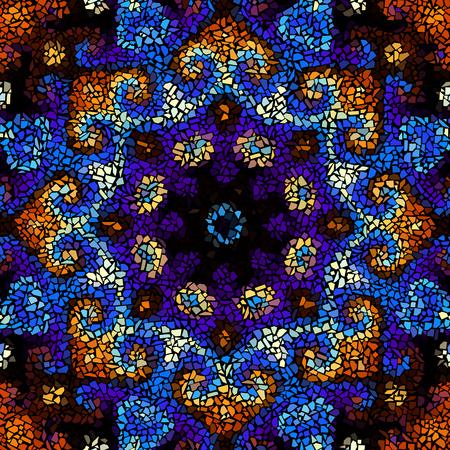 navy blue background: Seamless background pattern. Decorative round mosaic art pattern on black background.