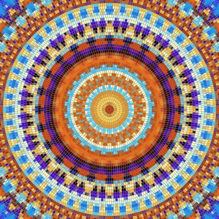 Naadloos achtergrond patroon. Decoratief ronde mozaïek kunstpatroon. Stock Illustratie