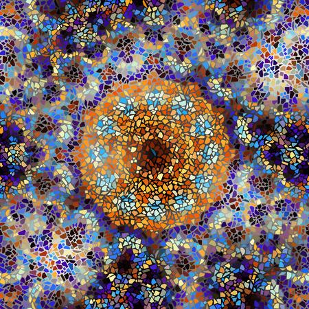 Seamless background pattern. Decorative round mosaic art pattern.