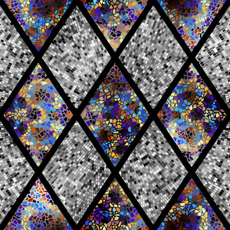 Seamless background pattern. Abstract geometric pattern of rhombuses with mosaics Illustration