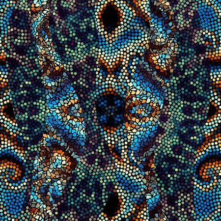 Seamless background pattern. Decorative geometric mosaic art pattern with a wavy pattern.
