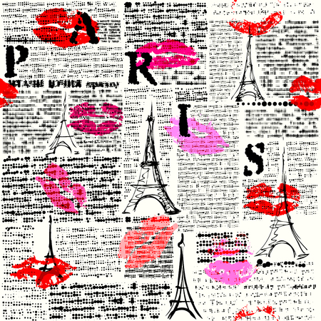 Seamless background pattern. Imitation of a newspaper with halftone word of Paris.