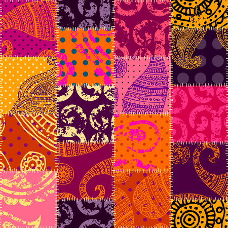 Seamless background pattern. Imitation of a retro patchwork in indian style.