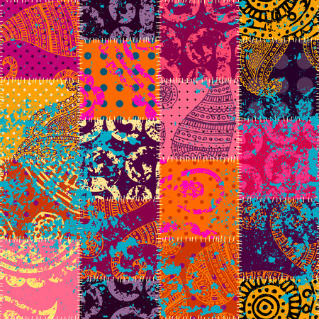 Seamless background pattern. Imitation of a retro patchwork in indian style. Banco de Imagens - 81237333