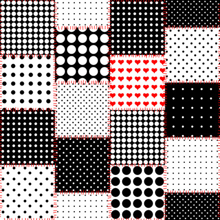 Seamless background pattern. The patchwork pattern of a polka dot squares. Banco de Imagens - 81237330