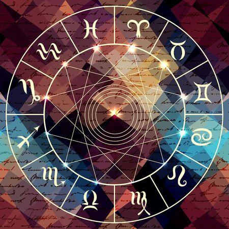 virgo: Círculo mágico con signos de zodiaco en el fondo abstracto grunge. Vectores