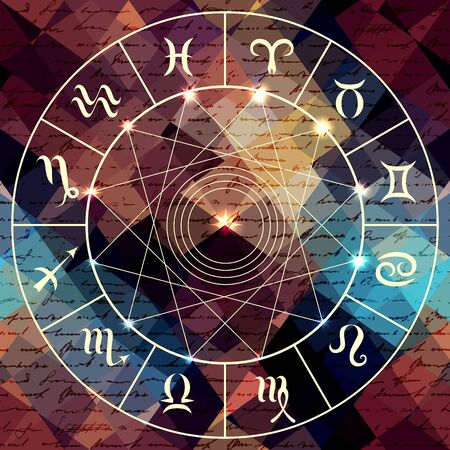 divination: Magic circle with zodiacs sign on abstract grunge background.