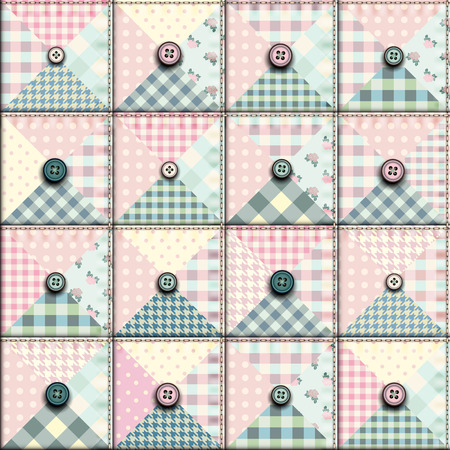 Seamless background pattern. Geometric patchwork pattern of a triangles with the buttons. Ilustração