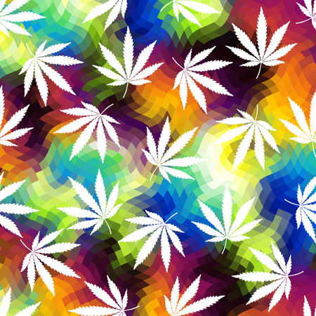 Geometric colorful abstract background and hemp leaves.