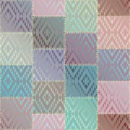 Seamless background pattern. Geometric patchwork pattern of a squares. Imitation of a silk texture.
