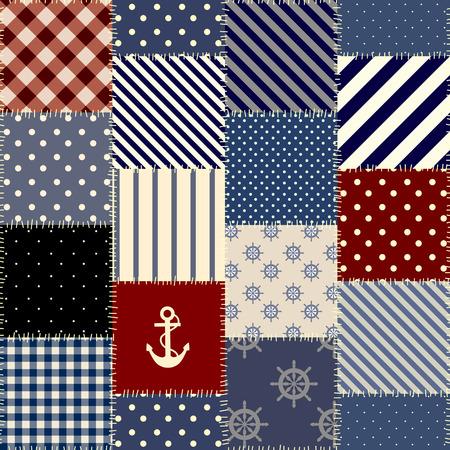 シームレスな背景パターン。海のスタイルで正方形の幾何学的なパッチワーク パターン。  イラスト・ベクター素材