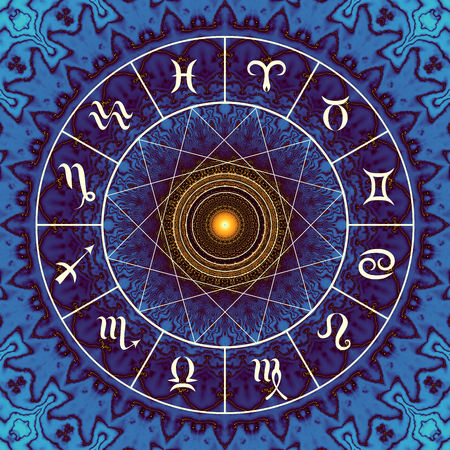 sagitario: Magic circle with zodiacs sign on abstract mystic background. Foto de archivo
