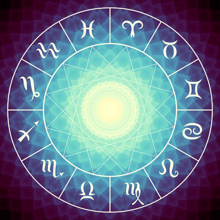 capricornio: Magic circle with zodiacs sign on abstract mystic background. Foto de archivo