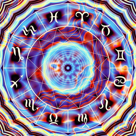 Magic circle with zodiacs sign on abstract mystic background. Banque d'images