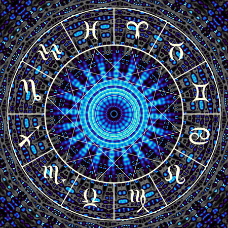 libra: Magic circle with zodiacs sign on abstract mystic background. Stock Photo