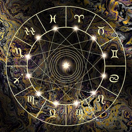 capricornio: Círculo mágico con signo de los zodiacs en el fondo místico abstracto.