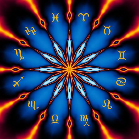 Círculo mágico con signo de los zodiacs en el fondo místico abstracto.