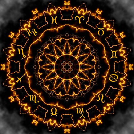 Magic circle with zodiacs sign on abstract mystic background. Stock Photo
