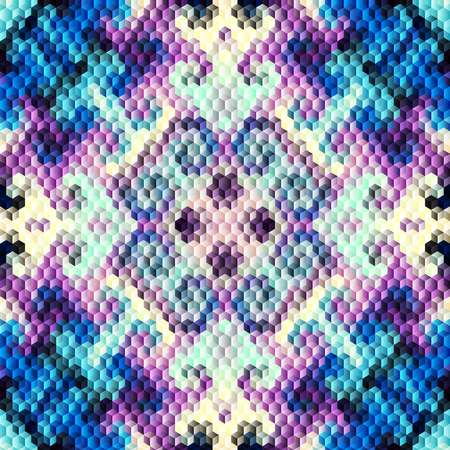 Seamless background. Abstract cubes geometric pattern in lowpoly style. Ilustração