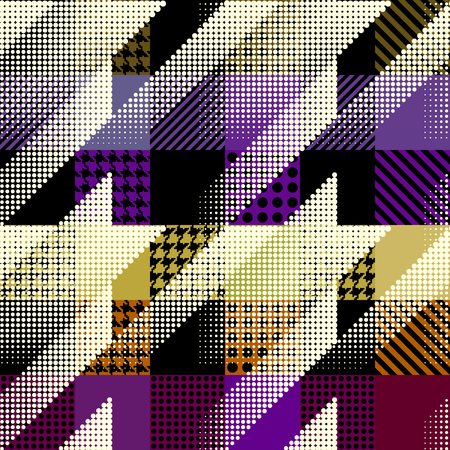 Seamless background pattern. Geometrical Hounds-tooth pattern in patchwork style.
