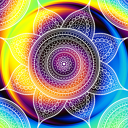 Round mandala ornament pattern on iluustrated vector design.