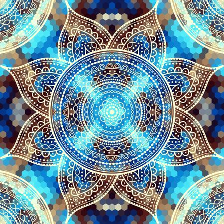 Vector vierkante achtergrond. Mandala ronde decoratieve ornament patroon. Stock Illustratie