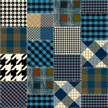 シームレスな背景パターン。正方形の幾何学的なパッチワーク パターン。