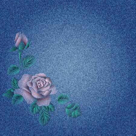 Fashion embroidery roses on blue denim fabric.