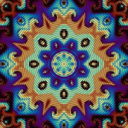 Seamless background pattern. Round decorative geometric mosaic art tile pattern.