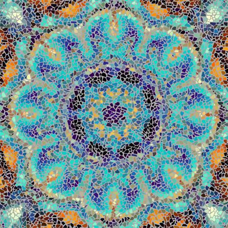 turquiose: Seamless background pattern. Irregular decorative geometric mosaic art tile pattern from uneven broken pieces.
