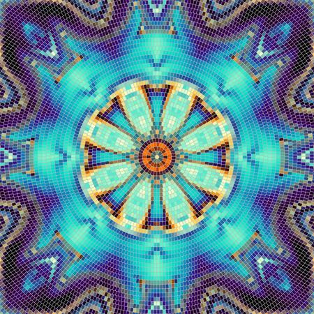 turquiose: Seamless background pattern. Round decorative geometric mosaic art tile pattern.