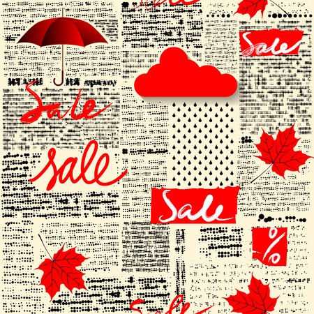 Seamless background pattern. Imitation of halftone newspaper with original lettering Sale. Autumn sale. Illustration