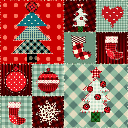 Seamless Christmas background in patchwork style. Stock Illustratie