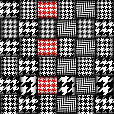 hounds: Imitation of geometric patchwork pattern. Interweaving ribbons. Seamless vector background. Geometrical Hounds-tooth pattern in patchwork style, Stock Photo