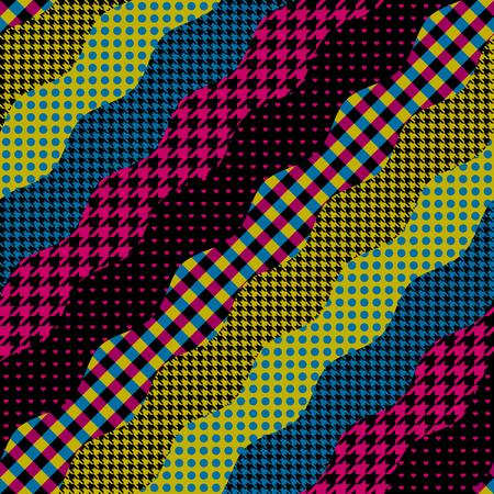 Seamless background pattern. Imitation of a patchwork pattern. Wavy diagonal shapes. Illustration