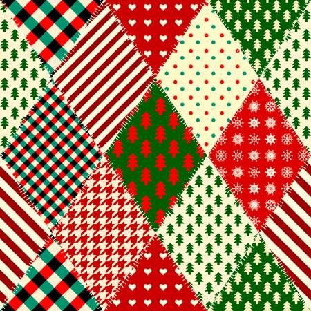 Seamless Christmas background in patchwork style. Quilting design pattern with rhombuses shapes. Illustration