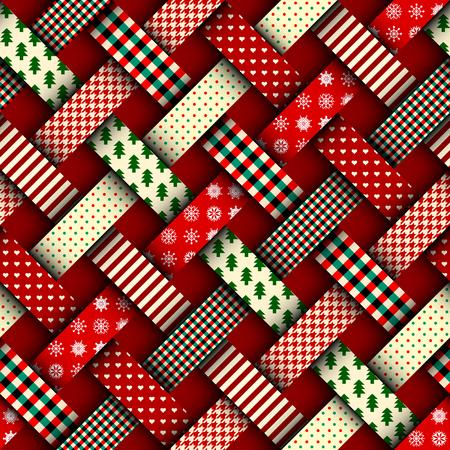 Nahtloser Weihnachtshintergrund in der Patchworkart. Verweben von Bändern mit Weihnachtsmustern auf rotem Hintergrund.