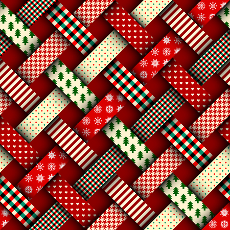 Seamless Christmas background in patchwork style. Interweaving ribbons with Christmas patterns on red background. 免版税图像 - 88482866