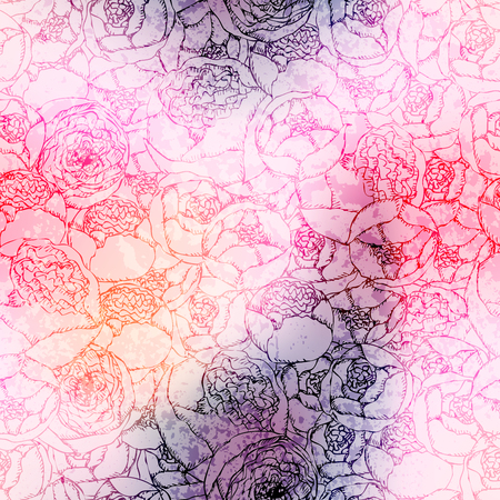 curve: Seamless background pattern. Hand-drawn pion-shaped roses on blurred background. Illustration
