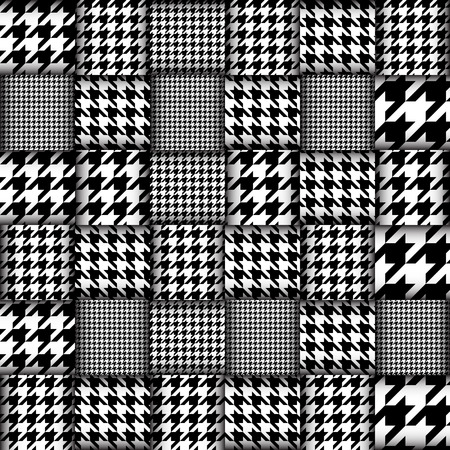 Imitation of geometric patchwork pattern. Interweaving ribbons. Seamless vector background. Geometrical Hounds-tooth pattern in patchwork style, 일러스트