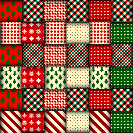 patchwork: Seamless Christmas background in patchwork style. Interweaving ribbons with Christmas patterns on red background.