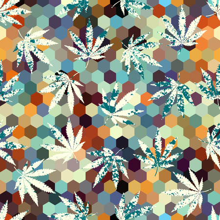 Seamless background pattern. Grunge abstract background and hemp leaves. Illustration