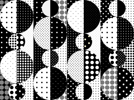 patchwork: Seamless background pattern. Imitation of a patchwork pattern of a circles.. Black and white polka dot patterns.