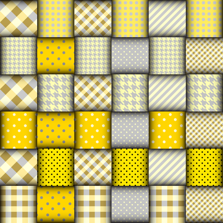 patchwork: Imitation of geometric patchwork pattern. Interweaving ribbons. Seamless vector background. Illustration