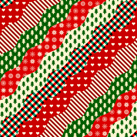 Seamless Christmas background in patchwork style. Diagonal wavy shapes. Çizim