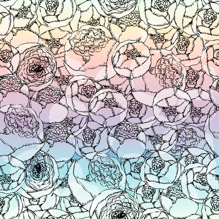 paintings: Seamless background pattern. Hand-drawn pion-shaped roses on blurred background. Illustration
