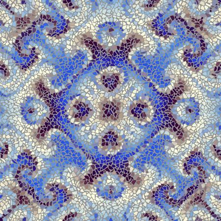art piece: Seamless background pattern. Irregular decorative geometric mosaic art tile pattern from uneven broken pieces.