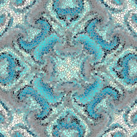 art piece: Seamless background pattern. Irregular decorative geometric mosaic art tile pattern from uneven broken pieces. Turquiose colors mosaic.