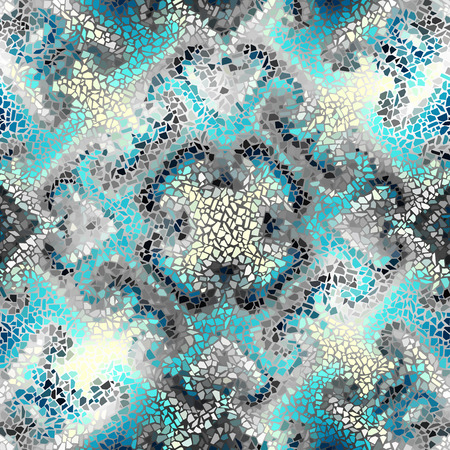 masonry: Seamless background pattern. Irregular decorative geometric mosaic art tile pattern from uneven broken pieces.